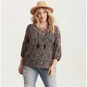 Torrid Geo Print Embroidered Challis Lace Up Top